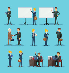 setting of icons for businesspeople in office vector image