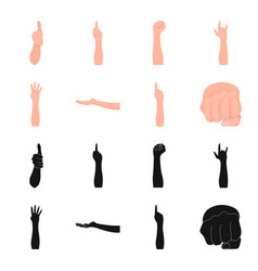 Sign language blackcartoon icons in set vector
