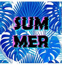 sign summer sale with distorted glitch effect vector image