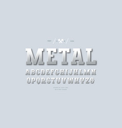 Silver colored and metal chrome slab serif font vector