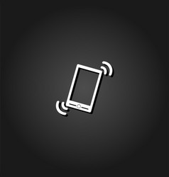 Smart phone in silent mode icon flat vector