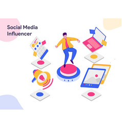 Social media influencer isometric modern flat vector