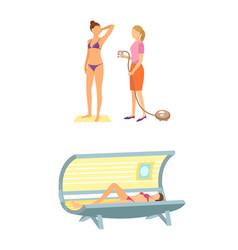 Spa salon solarium tanning procedure icon vector