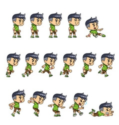 Sporty boy game sprites vector