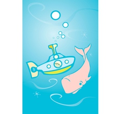 Submarine and Whale vector