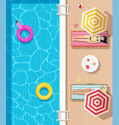 top view swimming pool with clear water vector image