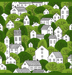 Trees and houses seamless pattern summer green vector