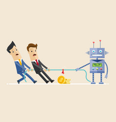Two business man fighting with robot in the tug of vector