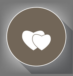 two hearts sign white icon on brown vector image