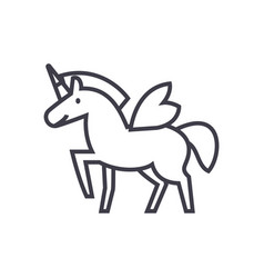 unicorn line icon sign on vector image
