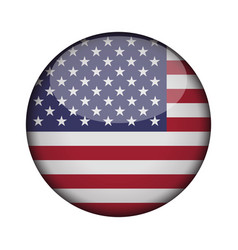 united states of america flag in glossy round vector image