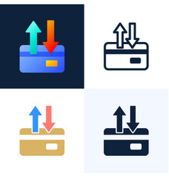 up and down arrows credit card stock icon set the vector image