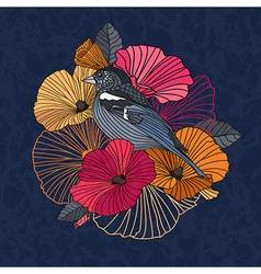 Vintage of a bird with flowers vector image