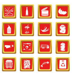 waste and garbage icons set red vector image