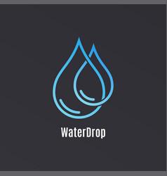 water drop logo design droplet water on black vector image