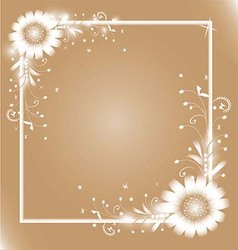 White flowers frame vector