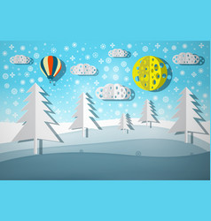 winter landscape paper cut nature scene vector image