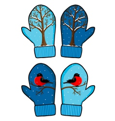 winter mittens vector image
