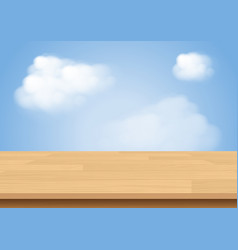 wood table top on sky and cloud background vector image