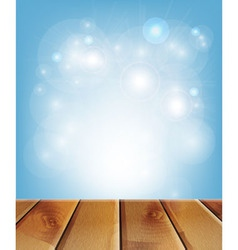 wooden boards and blue background vector image