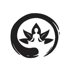 Yoga lotus with zen circle logo template vector