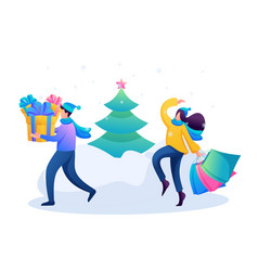young people are engaged in buying christmas gifts vector image