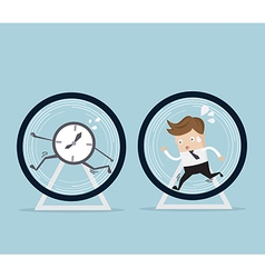 businessman and time running in hamster wheel vector image vector image
