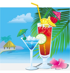 cocktails on the beach vector image vector image