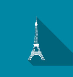 eiffel tower flat icon with long shadow vector image