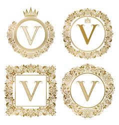 golden letter v vintage monograms set heraldic vector image