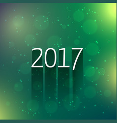 green bokeh background with 2017 new year text vector image vector image