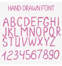 Hand drawn alphabet with vector image vector image