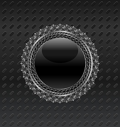 heraldic circle shield on metallic background - vector image vector image