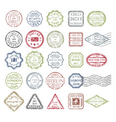 postal stamps set colored vector image