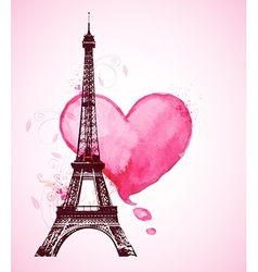 Red watercolor heart and Eiffel Tower vector image