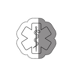 Sticker of monochrome silhouette of health symbol vector