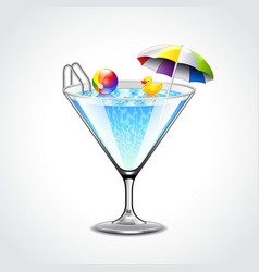 Swimming pool in martini glass vacation concept vector image