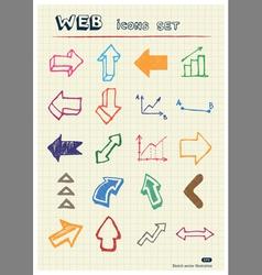 Arrows web icons set drawn by color pencils vector image vector image