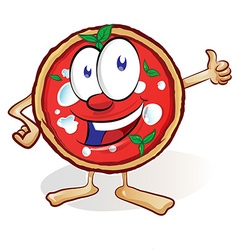 fun pizza cartoon with thumb up vector image vector image