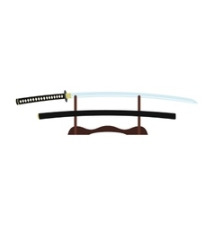 Katana on a wooden stand flat icon vector image