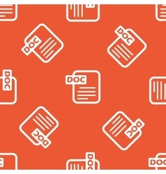 Orange DOC file pattern vector image vector image