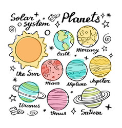 planets doodle set vector image
