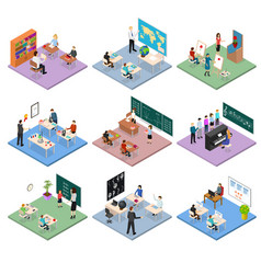 school education set concept 3d isometric view vector image vector image