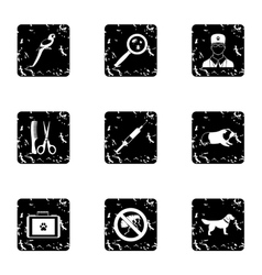 Treatment of animals icons set grunge style vector image vector image