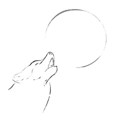 wolf howling on full moon vector image