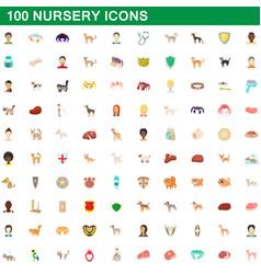 100 nursery icons set cartoon style vector image