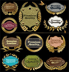 Premium quality leather labels vector image vector image