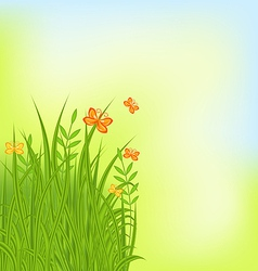 Summer background with grass and butterfly vector image vector image