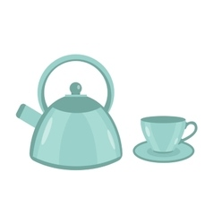 Teapot and cup icon flat style Isolated on vector image