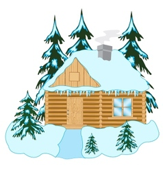 Wooden house in wood vector image
